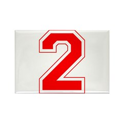 Varsity Font Number 2 Red Rectangle Magnet (100 pa