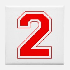 Varsity Font Number 2 Red Tile Coaster