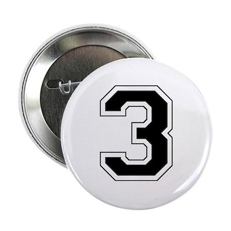 """Varsity Font Number 3 Black 2.25"""" Button"""