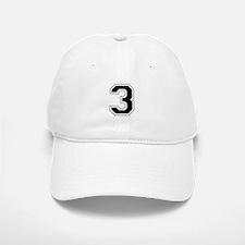 Varsity Font Number 3 Black Baseball Baseball Cap