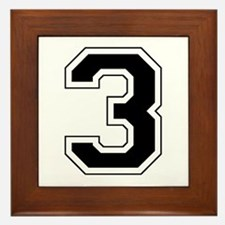 Varsity Font Number 3 Black Framed Tile