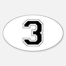 Varsity Font Number 3 Black Oval Decal