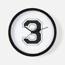 Varsity Font Number 3 Black Wall Clock