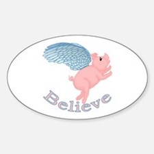 Flying Pig Design Oval Decal