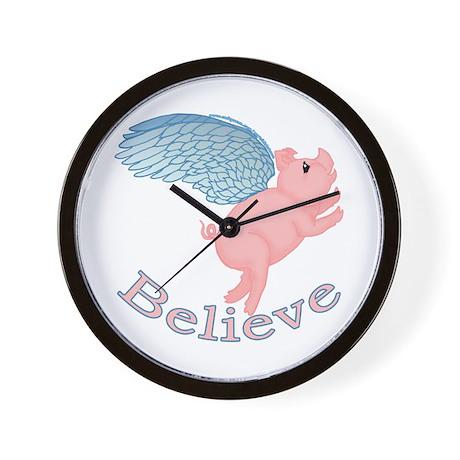 Flying Pig Design Wall Clock