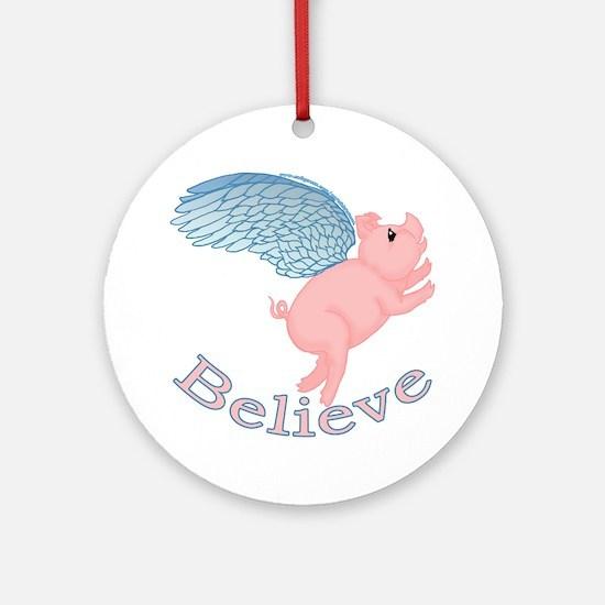 Flying Pig Design Ornament (Round)