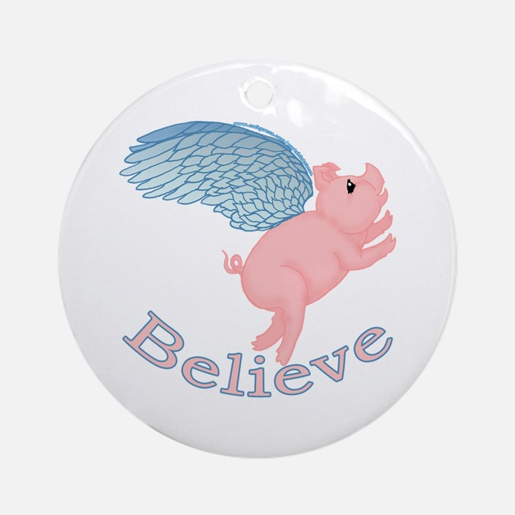 Flying Pig Design Ornament (Round)