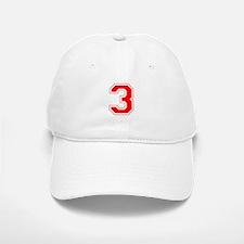 Varsity Font Number 3 Red Baseball Baseball Cap