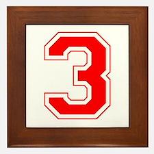 Varsity Font Number 3 Red Framed Tile