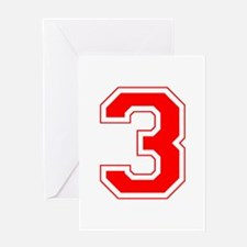 Varsity Font Number 3 Red Greeting Card