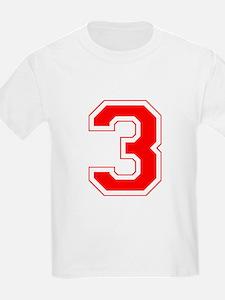 Varsity Font Number 3 Red T-Shirt