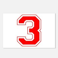 Varsity Font Number 3 Red Postcards (Package of 8)