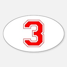Varsity Font Number 3 Red Oval Decal