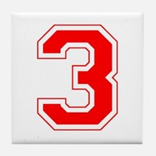 Varsity Font Number 3 Red Tile Coaster