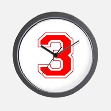 Varsity Font Number 3 Red Wall Clock