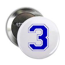 """Varsity Font Number 3 Blue 2.25"""" Button"""