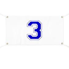 Varsity Font Number 3 Blue Banner