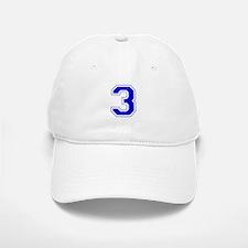 Varsity Font Number 3 Blue Baseball Baseball Cap