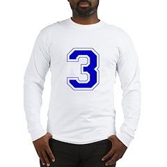 Varsity Font Number 3 Blue Long Sleeve T-Shirt