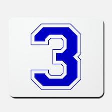 Varsity Font Number 3 Blue Mousepad