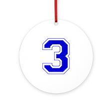Varsity Font Number 3 Blue Ornament (Round)