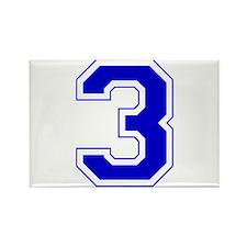 Varsity Font Number 3 Blue Rectangle Magnet