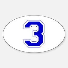 Varsity Font Number 3 Blue Oval Decal