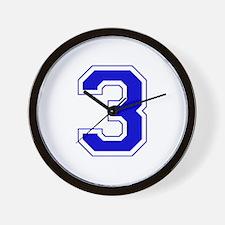 Varsity Font Number 3 Blue Wall Clock