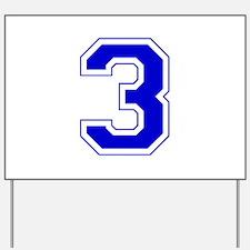 Varsity Font Number 3 Blue Yard Sign