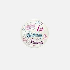 1st Birthday Princess Mini Button