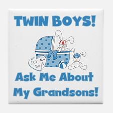 Grandma Twin Boys Tile Coaster