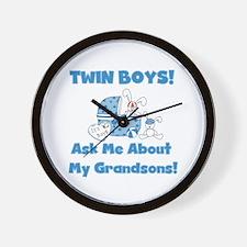 Grandma Twin Boys Wall Clock
