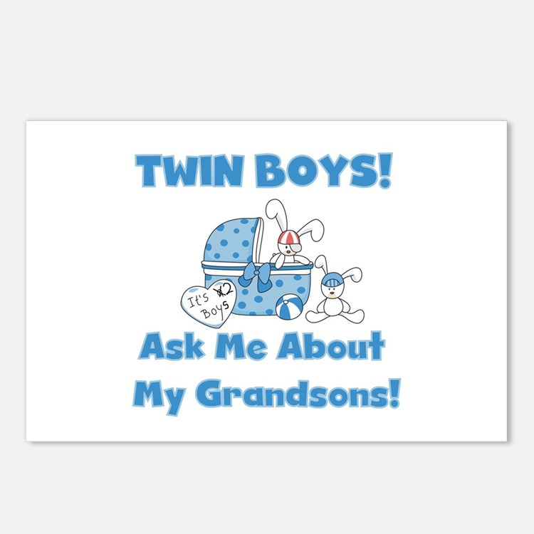 Grandma Twin Boys Postcards (Package of 8)