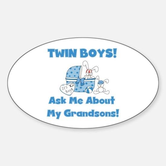 Grandma Twin Boys Oval Decal