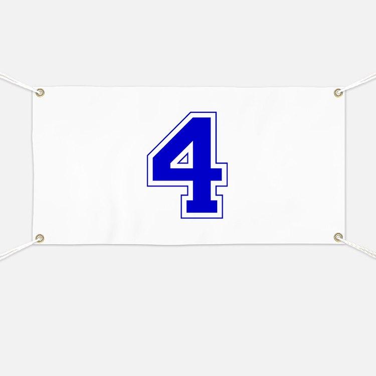 Varsity Font Number 4 Blue Banner