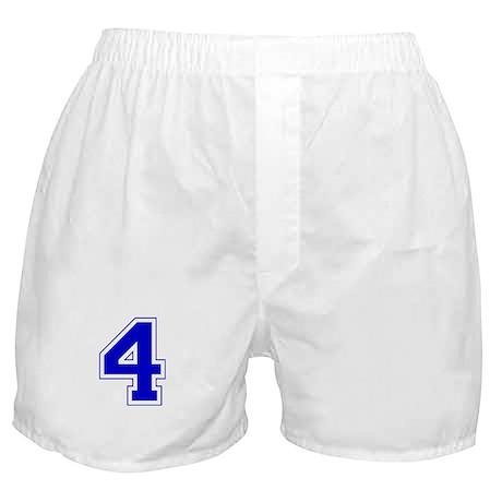 Varsity Font Number 4 Blue Boxer Shorts