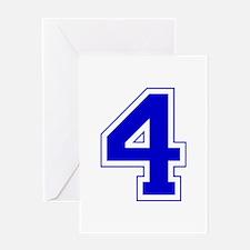 Varsity Font Number 4 Blue Greeting Card