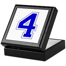 Varsity Font Number 4 Blue Keepsake Box