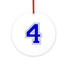 Varsity Font Number 4 Blue Ornament (Round)