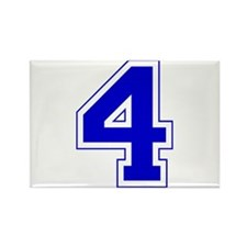 Varsity Font Number 4 Blue Rectangle Magnet