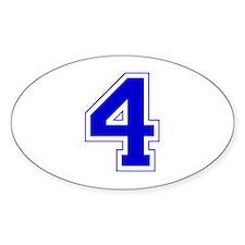 Varsity Font Number 4 Blue Oval Decal