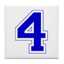 Varsity Font Number 4 Blue Tile Coaster