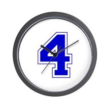Varsity Font Number 4 Blue Wall Clock