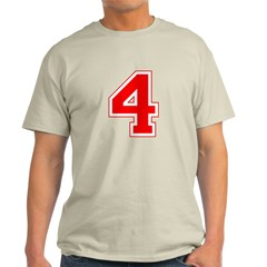 Varsity Font Number 4 Red T-Shirt