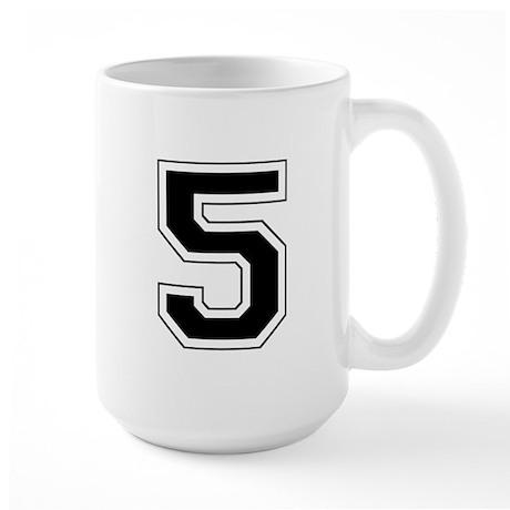 Varsity Font Number 5 Black Large Mug