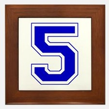 Varsity Font Number 5 Blue Framed Tile