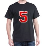 Varsity Font Number 5 Red Dark T-Shirt