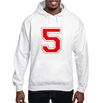Varsity Font Number 5 Red Hooded Sweatshirt