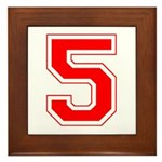 Varsity Font Number 5 Red Framed Tile