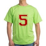 Varsity Font Number 5 Red Green T-Shirt